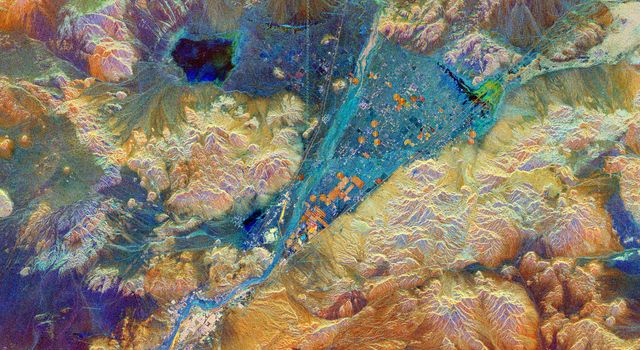 This spaceborne radar image from NASA's Spaceborne Imaging Radar C/X-Band Synthetic Aperture shows part of the Mojave Desert in the vicinity of Barstow, California and revealing human activities in the arid environment of the southern California deserts.