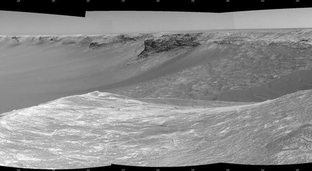 NASA's Mars Exploration Rover Opportunity used its navigation camera to take the images combined into this stereo view of the rover's surroundings on sol (or Martian day) 959 of its surface mission.