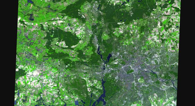 On July 9, hundreds of millions of fans worldwide were glued to their television sets watching the final match of the 2006 FIFA World Cup, played in Berlin's Olympic stadium (Olympiastadion). This image was acquired by NASA's Terra spacecraft.
