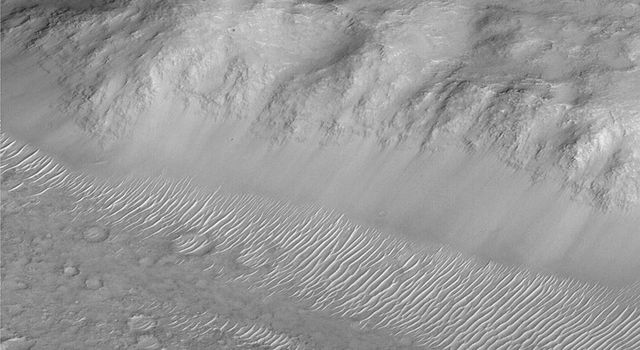 NASA's Mars Global Surveyor captured this dramatic view of a slope in the Amenthes Rupes region near the martian equator showing layered bedrock, smooth-surfaced debris at the slope base, and many small ripple-like dunes.