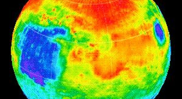 This image shows the nighttime temperatures measured by the Thermal Emission Spectrometer (TES) instrument onboard NASA's Mars Global Surveyor wrapped on to a globe.
