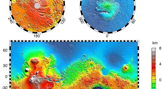 NASA's Mars Global Surveyor shows a topography map of the vast east-west trending Valles Marineris canyon system and several major volcanic shields including Olympus Mons.
