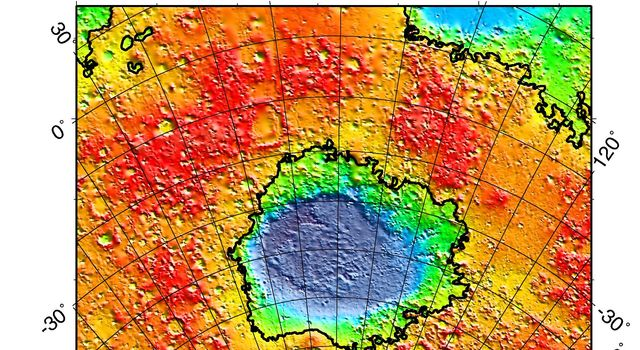 NASA's Mars Global Surveyor shows a regional topographic model of the Hellas basin on Mars.