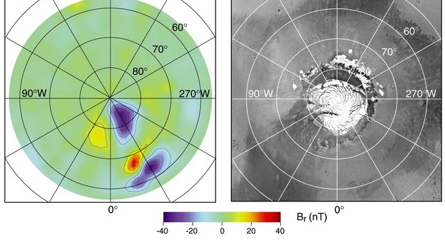 NASA's Mars Global Surveyor shows a radial magnetic field measured at about 170-km altitude over the North Polar Region with the corresponding image showing the North Polar Cap.