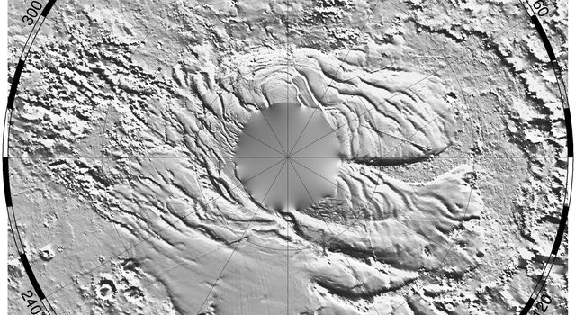 NASA's Mars Global Surveyor shows a relief model of the topography of the South Polar Region on Mars showing the form of the ice cap and its surroundings.