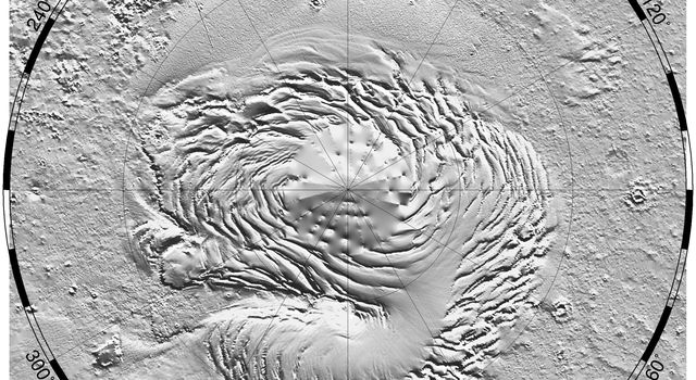 NASA's Mars Global Surveyor shows a relief model of the topography of the North Polar Region on Mars showing the form of the ice cap and its surroundings.