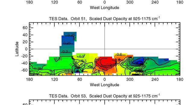NASA's Mars Global Surveyor shows variation of dust content with time showing the growth of a storm on Mars.