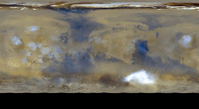 NASA's Mars Global Surveyor shows a global 'snapshot' of weather patterns across Mars. Here, bluish-white water ice clouds hang above the Tharsis volcanoes.