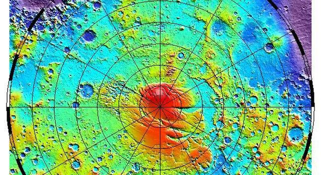 NASA's Mars Global Surveyor shows the latest MOLA topographic map of Mars' from latitude 55° S to the south pole.