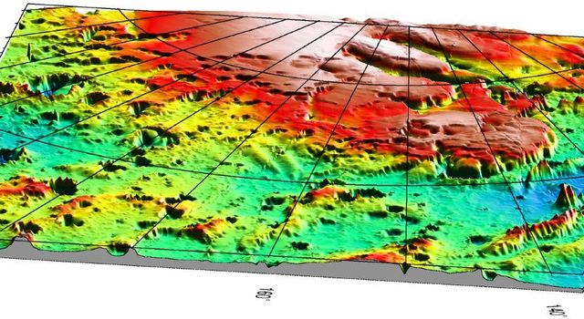 NASA's Mars Global Surveyor shows a three-dimensional view of the Mars '98 Polar landing site from MOLA. The vertical exaggeration is 20:1.