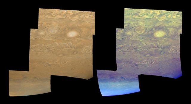 The clouds and hazes of Jupiter's southern hemisphere, in the region between 25 degrees south latitude and the pole, are shown in approximately true color (left mosaic) and in false color (right mosaic). The images were taken by NASA's Galileo spacecraft.