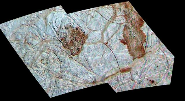 Thera and Thrace are two dark, reddish regions of enigmatic terrain that disrupt the older icy ridged plains on Jupiter's moon Europa. North is toward the top of the mosaic obtained by NASA's Galileo spacecraft.
