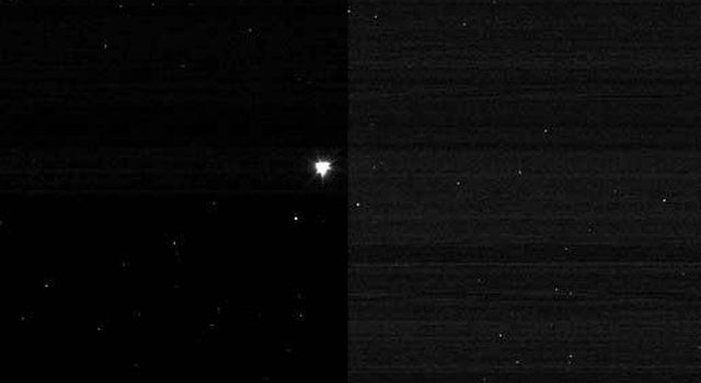 This image of NASA's Deep Impact's impactor probe was taken by the mission's mother ship, or flyby spacecraft, after the two separated at 11:07 p.m. Pacific time, July 2 (2:07 a.m. Eastern time, July 3), 2005. The impactor is seen at the center.