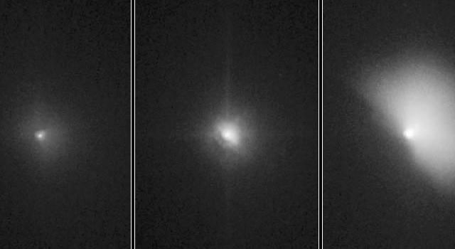These pictures of comet Tempel 1 were taken by NASA's Hubble Space Telescope. They show the comet before and after it ran over NASA's Deep Impact probe.