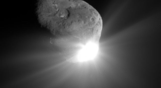 This spectacular image of comet Tempel 1 was taken 67 seconds after it obliterated NASA's Deep Impact's impactor spacecraft.