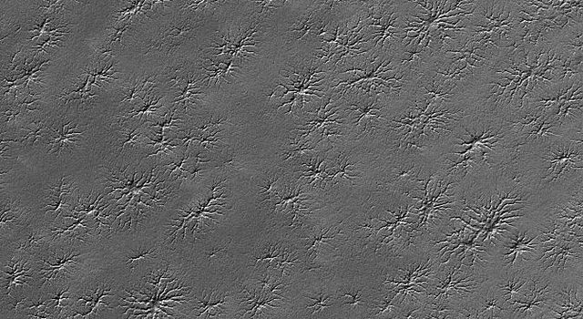 NASA's Mars Global Surveyor shows an area adjacent to Mar's south polar residual cap that hosts several intricate fracture networks.