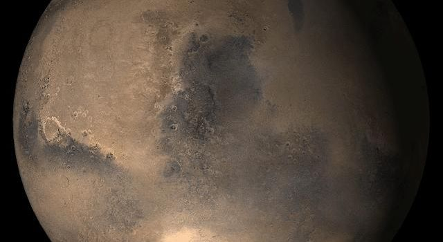 NASA's Mars Global Surveyor shows the Syrtis Major face of Mars in mid-February 2006.