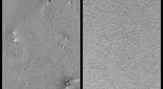 NASA's Mars Global Surveyor shows Mars' south polar layered deposits are generally devoid of the large craters and hills seen at the Mars Pathfinder site.