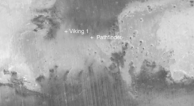 NASA's Mars Global Surveyor shows the equatorial region of Mars where both the Pathfinder and Viking 1 spacecraft landed.