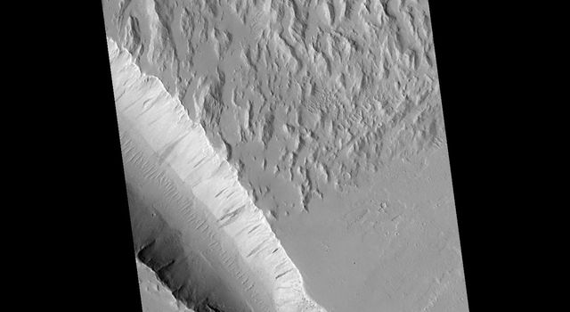 NASA's Mars Global Surveyor shows a wide area along the edge of the hilly, Gigas Sulci terrain on Mars with several troughs that look something like gashes made by a giant knife.