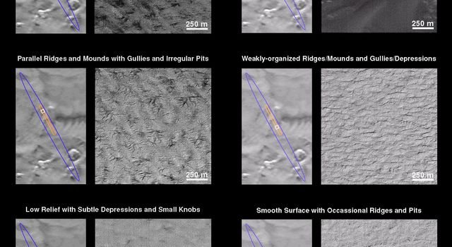 NASA's Mars Global Surveyor shows a variety of surface textures, terrains, and geologic features that were found in the landing ellipse of the Mars Polar Lander.