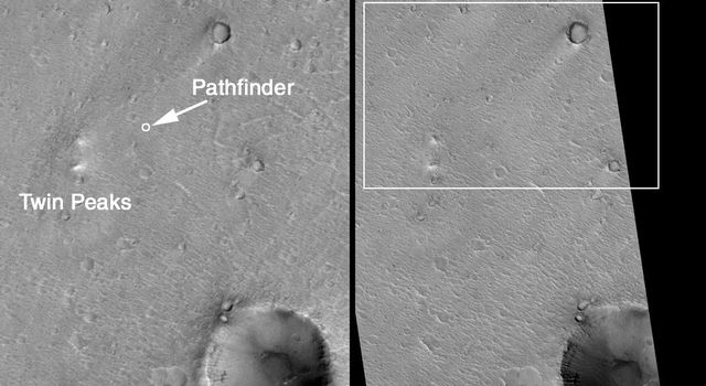 NASA's Mars Global Surveyor shows the location NASA's Mars Pathfinder known the best because there are several distinct landmarks visible (North Peak, Big Crater, Twin Peaks) in the lander's images that help in locating the spacecraft.