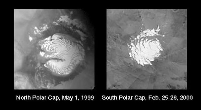 NASA's Mars Global Surveyor shows a portion of the north and south martian polar cap that remains frosted through the summer is known as the Residual Polar Cap.
