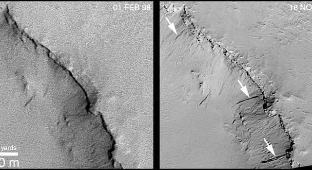 Recent Movements: New Landslides in Less than 1 Martian Year