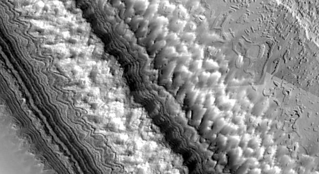 NASA's Mars Global Surveyor shows complex erosional patterns that have developed on Mars' south polar cap, perhaps by a combination of sublimation, wind erosion, and ground-collapse.