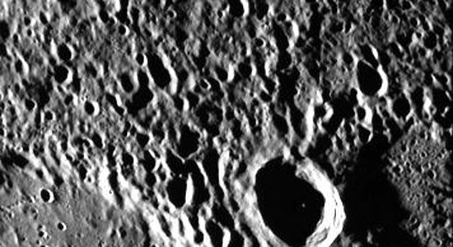 NASA's Mariner 10 took this picture of the densely cratered surface of Mercury when the spacecraft was 18,200 kilometers (8085 miles) from the planet on March 29, 1974.