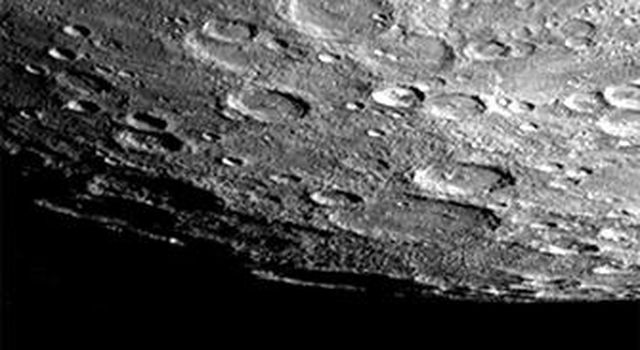 After passing Mercury the first time and making a trip around the Sun, NASA's Mariner 10 again flew by Mercury on Sept. 21, 1974. The south pole is located on the right hand edge of Chao Meng Fu crater that has only its rim sticking up into the light.