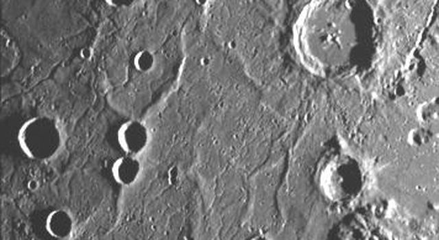 This image, from NASA's Mariner 10 spacecraft which launched in 1974,  includes part of the floor of the Caloris basin showing the ridges and fractures.