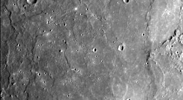 This image, from NASA's Mariner 10 spacecraft which launched in 1974, shows that several west-facing lobate scarps occur in the hummocky plains interpreted as Caloris ejecta.
