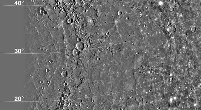 Caloris Basin on Mercury, is one of the largest basins in the solar system, its diameter exceeds 1300 kilometers and is in many ways similar to the great Imbrium basin on the Moon. This image is from NASA's Mariner 10 spacecraft which launched in 1974.