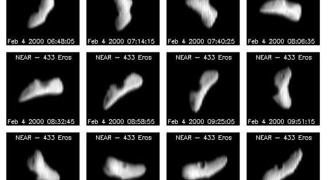 Approximately one day after its first rendezvous burn, NASA's NEAR Shoemaker imaged Eros every 15 degrees of rotation over a period of about 5.8 hrs. At this time the distance between the asteroid and spacecraft was approximately 4638 miles (7730 km).