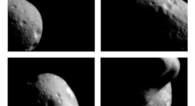 In the first hours after insertion into Eros' orbit on Feb 14, 2000, NASA's NEAR Shoemaker spacecraft took these images from a range of 210 miles (330 km) above the surface. The many craters visible served as landmarks for navigating the spacecraft.