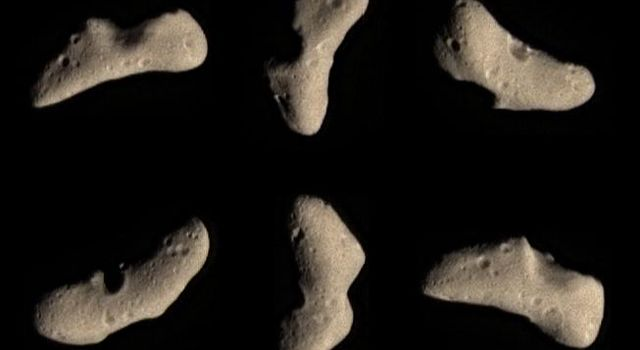 These color images taken by NASA's NEAR Shoemaker spacecraft on Feb 12, 2000, show the subtle butterscotch hue is typical of a wide variety of minerals thought to be the major components of asteroids like Eros.