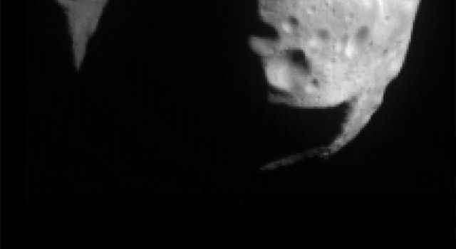 This first image of asteroid 253 Mathilde was returned by NASA's NEAR Shoemaker spacecraft on June 27, 1997. Sunlight is coming from the upper right showing a surface heavily cratered.