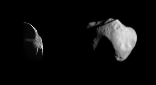 Two different views of asteroid 253 Mathilde were obtained by NASA's NEAR Shoemaker spacecraft on June 27, 1997. Only a few of the prominent ridges on Mathilde are illuminated.