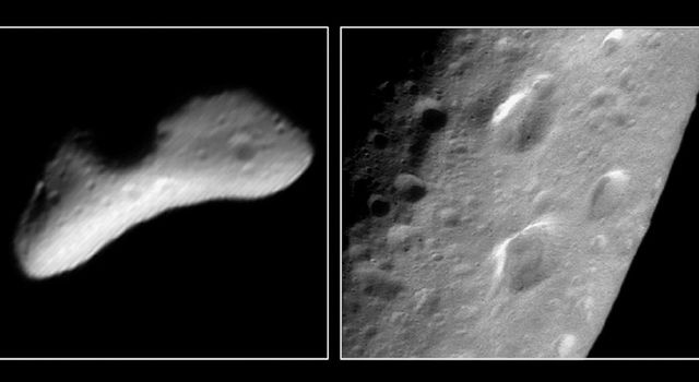 This image from NASA's NEAR Shoemaker shows a heart-shaped depression on asteroid Eros on left image, but right image reveals that the mysterious heart-shaped feature is actually 3 separate craters.