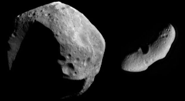 This image from NASA's NEAR Shoemaker shows asteroids Mathilde (left) and Eros (right) at the same scale.
