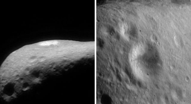 This pair of images of asteroid Eros, taken by NASA's NEAR Shoemaker show the crater nearly edge-on taken Feb. 16, 2000 at left, and at right, taken on March 2, 2000, high over a crater.