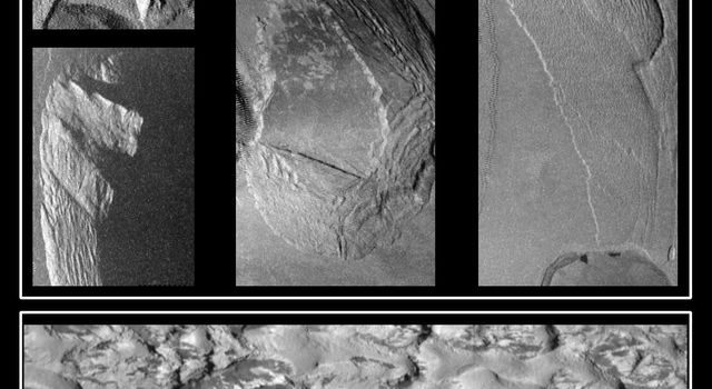 Unusual mountains on Jupiter's moon Io are shown in these images that were captured by NASA's Galileo spacecraft during its close Io flyby. The top four pictures show four different mountains at resolutions of about 500 meters per picture element.