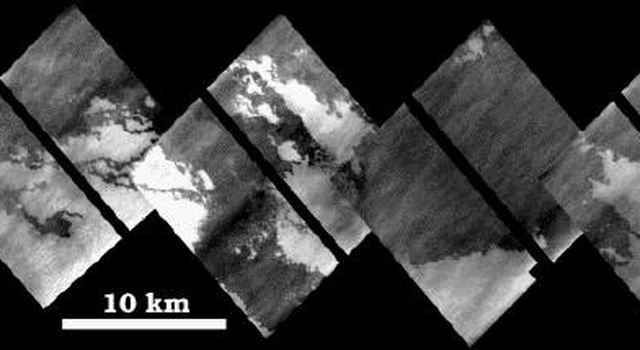 This mosaic of images shows a portion of a long lava flow that appeared during the 17 years between flybys of Io by NASA's Voyager and Galileo spacecraft. Images are high resolution and were acquired by Galileo on October 11, 1999 during its 24th orbit.