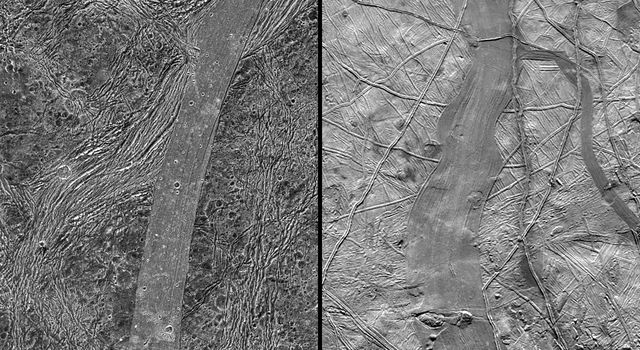 This image, taken by NASA's Galileo spacecraft, shows a same-scale comparison between Arbela Sulcus on Jupiter's moon Ganymede (left) and an unnamed band on another Jovian moon, Europa (right).