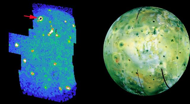 Volcanic hot spots, including a bright one never seen before, pepper an infrared color-coded image (left) of Jupiter's moon Io, taken by NASA's Galileo spacecraft on Aug. 6, 2001.
