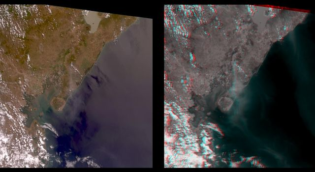 The stereo image at right is a downward-looking (nadir) view of the area around the San Cristobal volcano in Nicaragua taken by NASA's Terra satellite. 3D glasses are necessary to view this image.