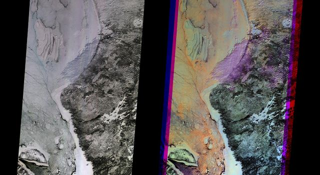 These multi-angle images of Hudson Bay and James Bay, Canada, taken 24 February 2000 from NASA's Terra spacecraft, come from the downward-looking (nadir) camera on the MISR instrument onboard NASA's Terra satellite.