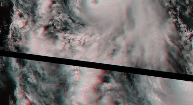 This anaglyph from NASA's Terra satellite's vertical (nadir) camera, shows Hurricane Carlotta's location in the eastern Pacific Ocean, about 500 km south of Puerto Vallarta, Mexico in 2000. 3D glasses are necessary to view this image.