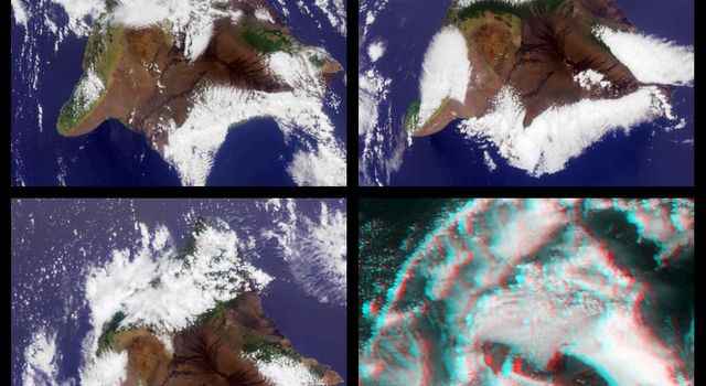This stereo image from NASA's Terra satellite show the Mauna Kea and Mauna Loa volcanoes in Hawaii; a southern face of a line of cumulus clouds off the north coast of Hawaii is also visible. 3D glasses are necessary to view this image.